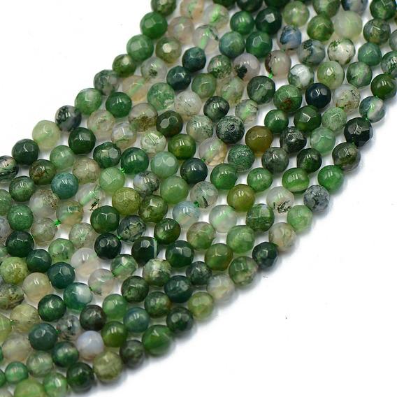 4mm Lapidado Natureza Verde Musgo Ágata Pedra Preciosa Redo
