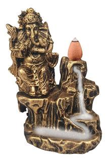 Deus Ganesha Incensario Cascata Cachoeira Hindu Resina Ouro