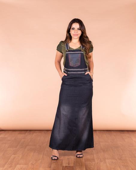 Salopete Jeans Vestido Longa Jardineira Joyaly Evangelica