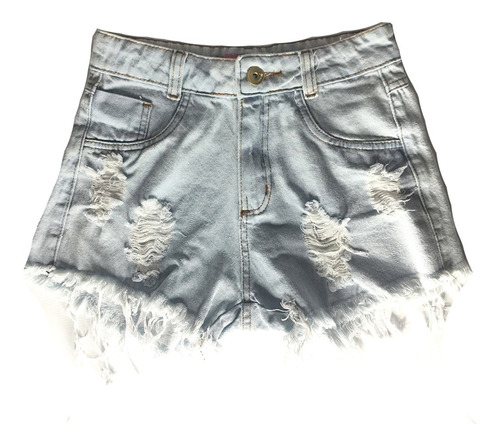 Shorts Jeans Feminino Cintura Alta Hot Pants Destroyed St025