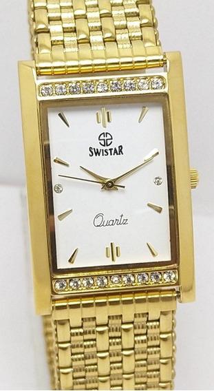 Relógio Swistar Quartz Raro Vintage Mostrador Branco Masculi