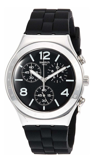 Swatch Noir De Bienne Ycs116plata Silicona Moda Reloj De
