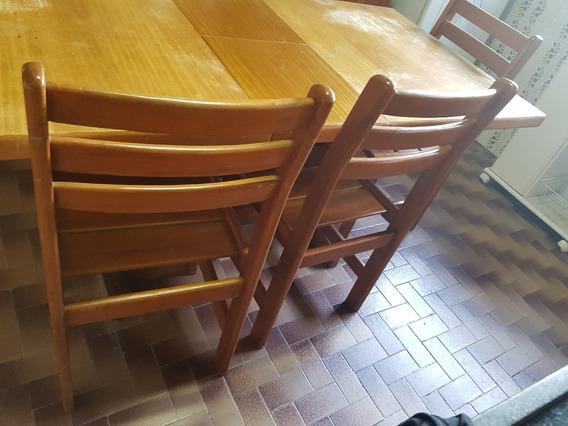 Mesa Retrátil De Madeira C/ 6 Cadeiras -retirar Jaguaré Sp