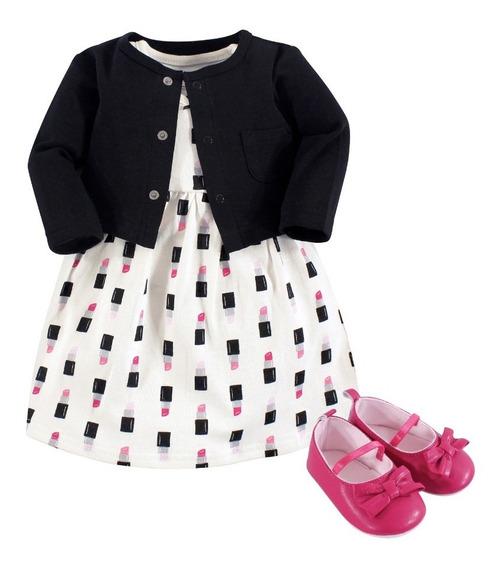 Vestido Sueter Y Zapatos Niñas Elegir Colores 9 / 18 Meses
