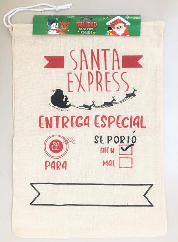 Imagen 1 de 1 de Saco De Navidad De Lienzo -- Entrega Especial Santa Express