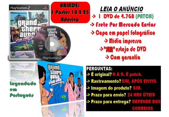 Gta Grand Theft Auto Vice City P/ps2 +brinde Poster Adesivo