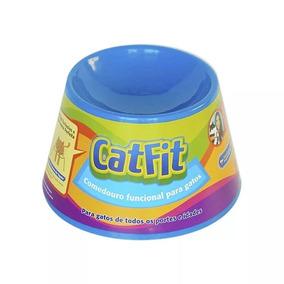 Comedouro Funcional Alto Para Gatos Petgames Catfit Azul