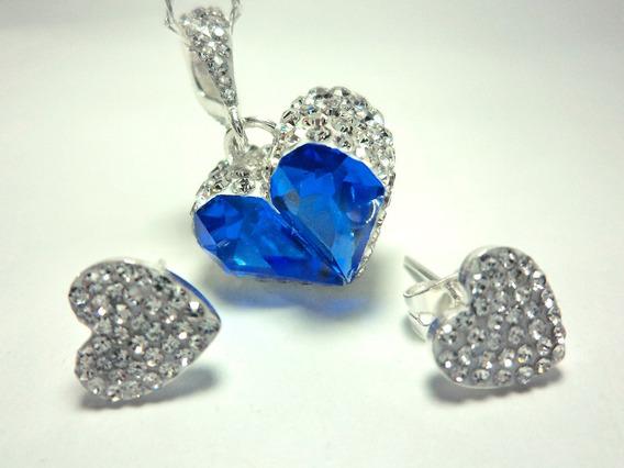 Set Aretes Dije Collar Plata 925 Cristales Caja De Regalo