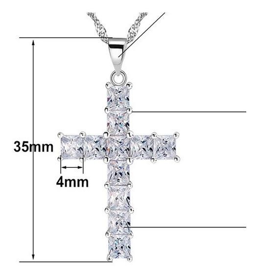 Colar Feminino Prateado Prata Pura 925 Crucifixo Luxo Fé 91