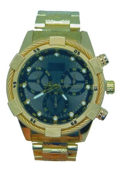 Relógio Masculino Ostentação Luxo Grande E Pesado Mais Caixa