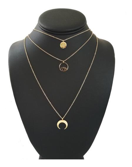 Collar Triple Acero Dorado Dijes Luna Estrella Ojo