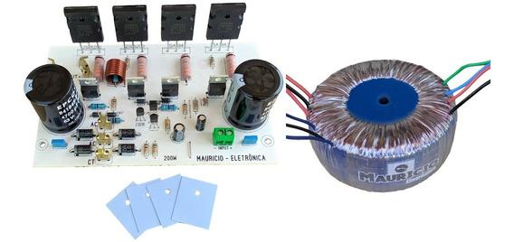 Placa + Transformador Amplificador 200w Com Fonte Embutida