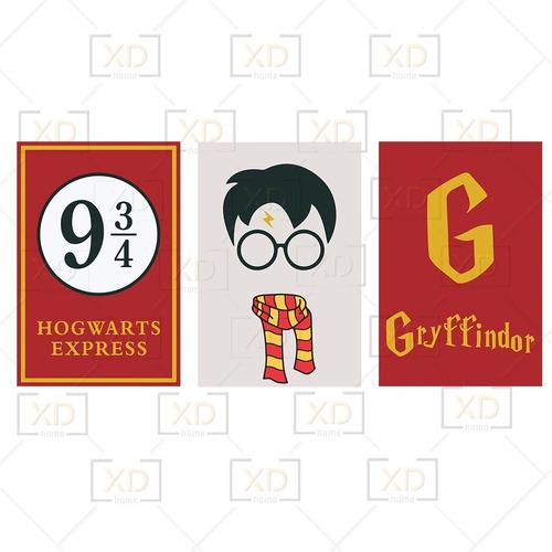 Kit 3 Placas Harry Potter Grifinólia Plataforma 9 3/4
