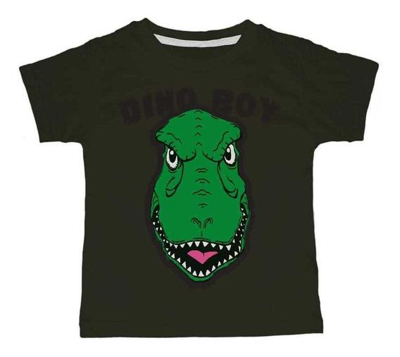 Remera Nene Dinosaurio Blanco O Verde, Excelente Calidad