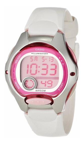 Relógio Casio Feminino Lw-200 Cronômetro Alarme Borr/br Rosa