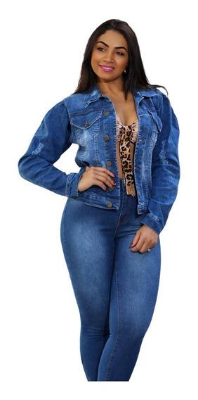 Jaqueta Jeans Feminina Lançamento Linda Outono Inverno 2019