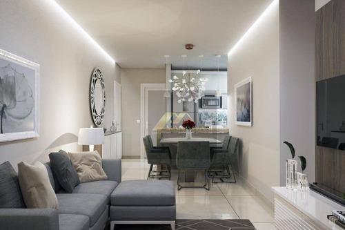 Apartamento Com 2 Dormitórios À Venda, 70 M² Por R$ 387.000,00 - Vila Guilhermina - Praia Grande/sp - Ap1948
