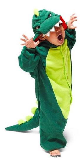 Fantasia Pijama Kigurumi Dinossauro Verde E Rosa Infantil