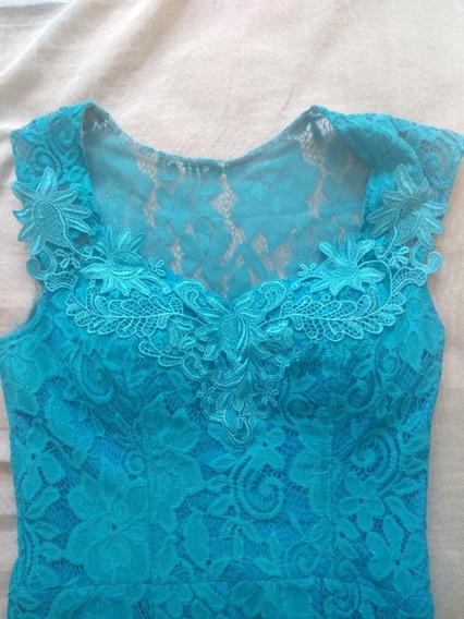 Vestido Azul Usado Apenas 1 Vez + Cinto De Brinde !