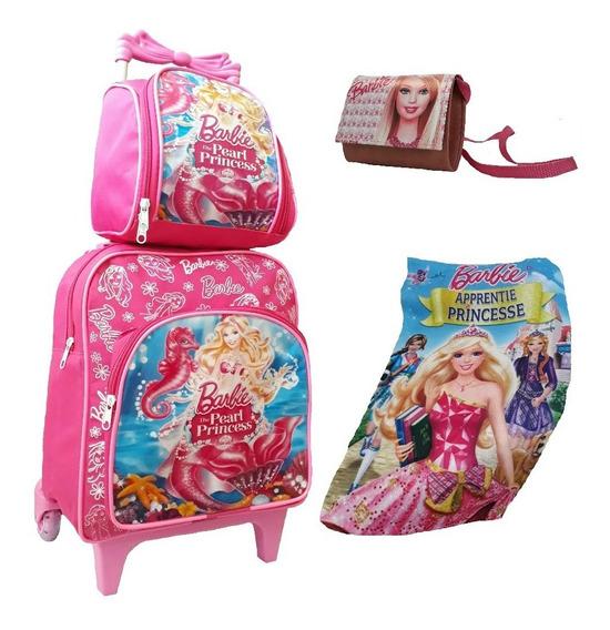 Bolsa Mochila Barbie Criança Infantil Rosa Rodinhas Barata P