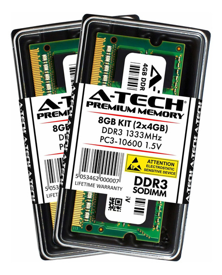 Memoria Ram 8gb A-tech Kit (2x 4gb) Ddr3 1333mhz Pc3-10600 204-pin Sodimm Computer Modules