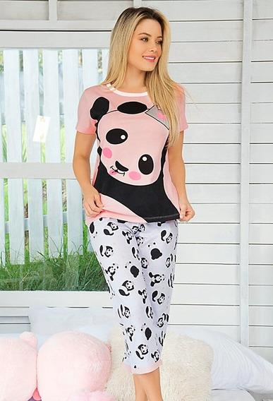 Pijama Oso Panda Mujer Juvenil Camisa Capri Rosado Lila