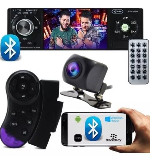 Som Carro Mp5 Bluetooth Rádio 1 Din Fm Usb Controle + Câm Ré