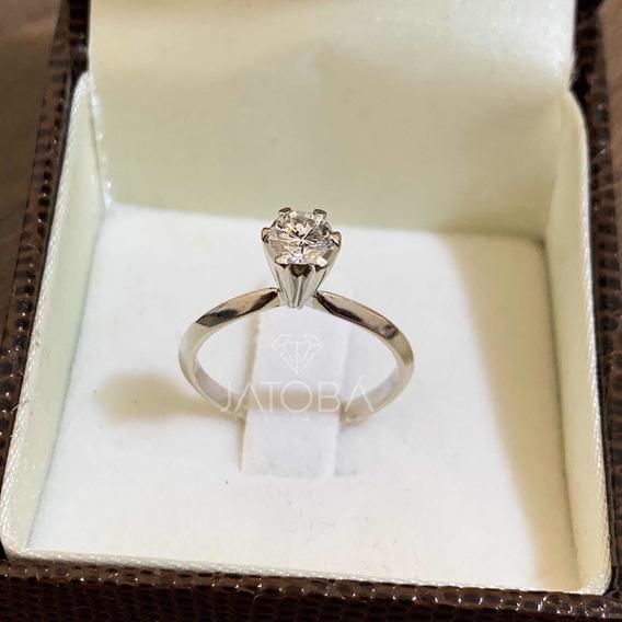 Solitário Ouro Branco 18k 750 Diamante Extra 45 Pt Ij Vvs2