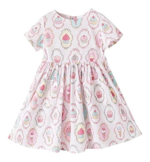 Vestido Infantil Festa Menina Estampa Cupcakes