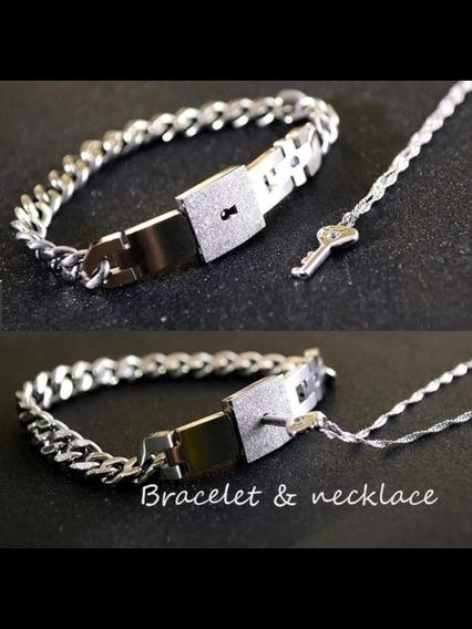 Collar Brazalete 2 En 1 Pulsera Candado Corazón