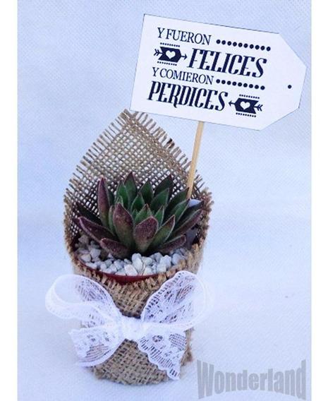 50 Souvenir Cactus Y Suculentas Con Tela Arpillera,tarjetita