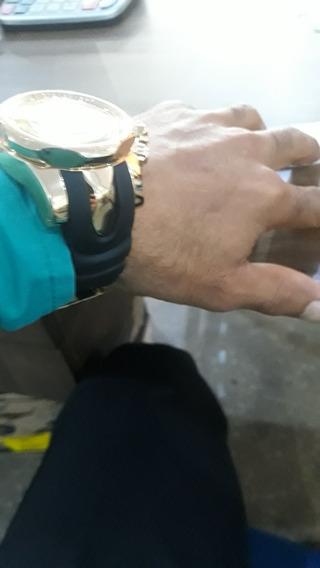 Relogio Quartz Dourado Pulseira De Borracha