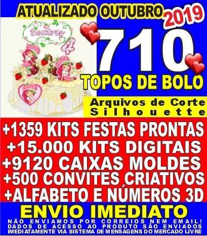 710 Topos De Bolo Arquivos Silhouette +1359 Kit Festas