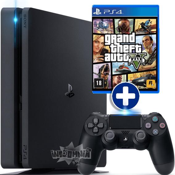 Playstation 4 Ps4 Slim 500 Gb + Jogo Gta 5 Bivolt