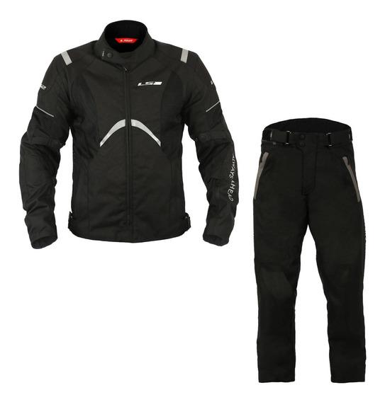 Conjunto Jaqueta E Calça Ls2 Impermeável Teide Para Moto