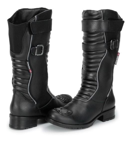 Bota Motociclista Feminina Atron Shoes 9118 Refletivo*-*-*-