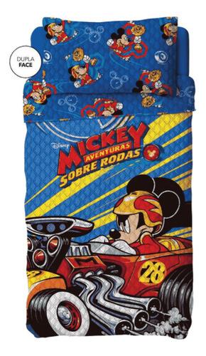 Colcha Bouti Dupla Face Mickey Azul 2 Pçs - Lepper
