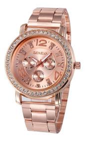 Relógio Pulseira Aço Inoxidável Feminino Rose Luxo Geneva