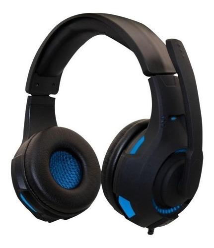 Imagen 1 de 3 de Audífonos gamer Naceb NA-0304 negro y azul con luz LED