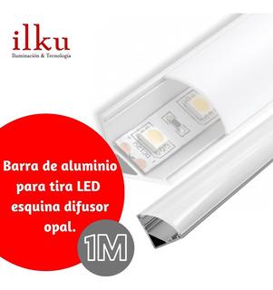 Barra Aluminio Para Tira Led Esquina Difusor Opal / Ilku