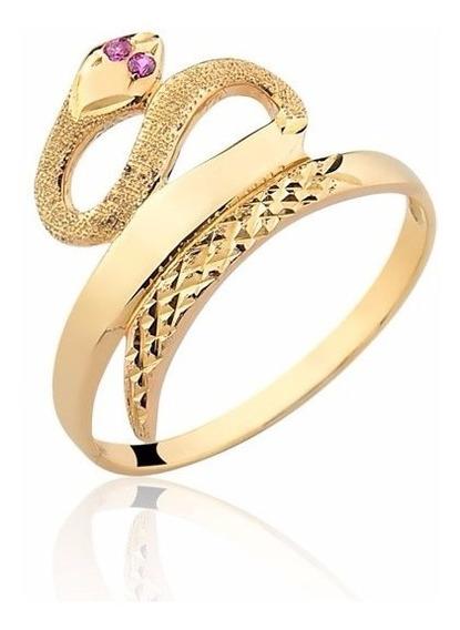 Anel Cobra Pedras Vermelhas Ouro 10k A191