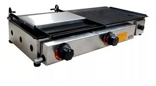 Chapa Para Lanche Hot Dog Hamburguer À Gás 30x70 C/ Prensa