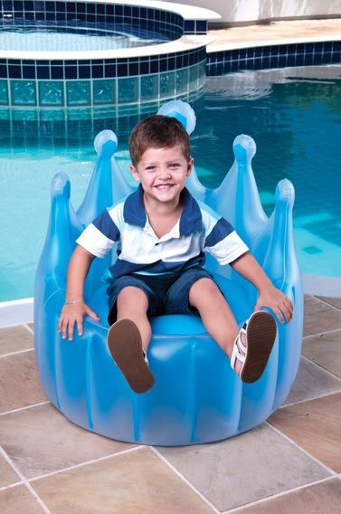 Poltrona Inflável Infantil Reino Encantado Azul Cadeira Mor