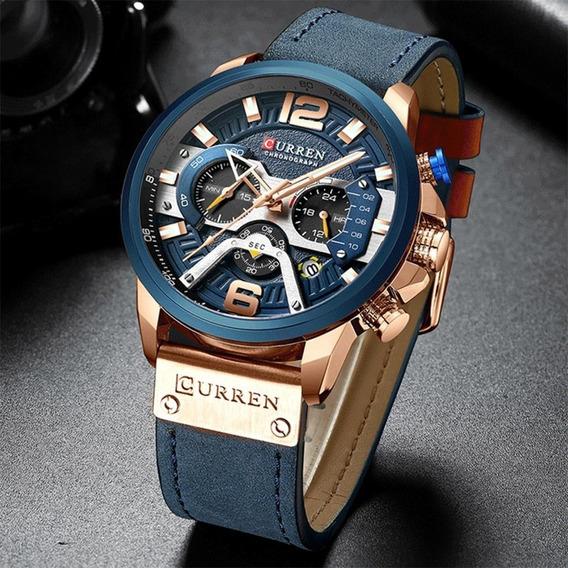 Relógio Esportivo Luxo Curren Quartz Militar Pulseira Couro