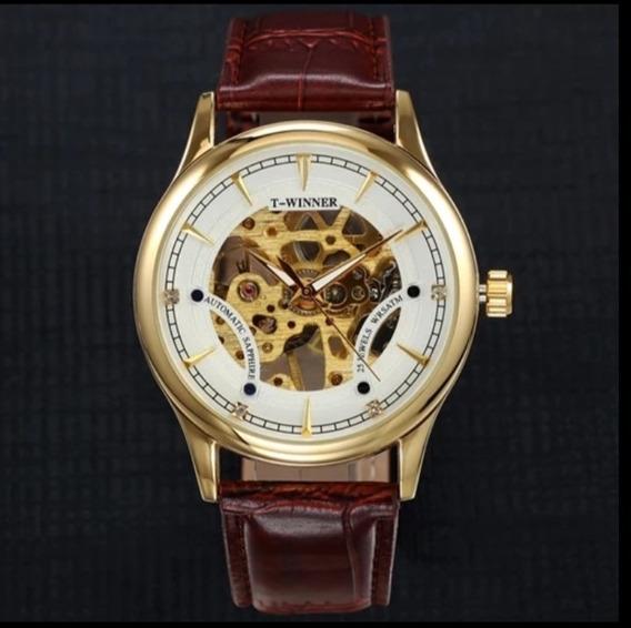 Relógio Masculino+brinde Semi Automático Couro C.19