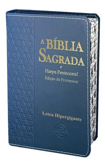 Bíblia Harpa Hiper Gigante Estrela Davi Masculina Azul 14x2