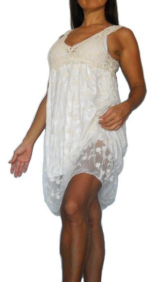 Vestido Encaje Guipur Urbano Playa Pileta Delicado Precioso!