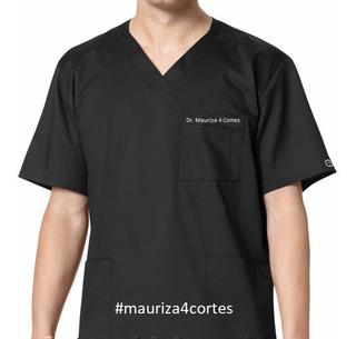 Pijama Cirúrgico Masculino Na Cor Preto Em Tecido Gabardine
