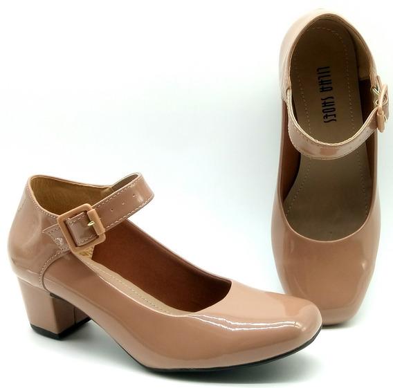 Sapato Feminino Salto Baixo Boneca Social Verniz Vermelho