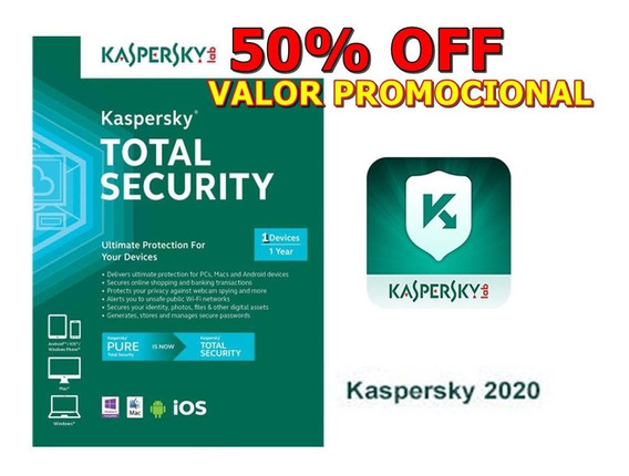 Kaspersky Total Security 2020 - P/ 1 Dispositivo + 1 Free